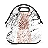 Best Picnic Plus Lunch Boxes - WWINL Rose Gold Marble Pineapple Lunch Bag Insulated Review