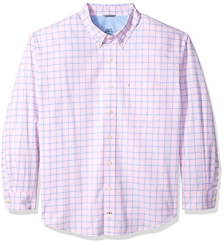 IZOD Men's Tall Long Sleeve Oxford Plaid Shirt, Cradle Pink, 3X-Large (Red Plaid Oxford Shirt)