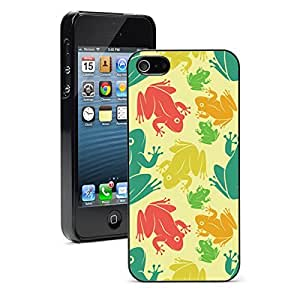 Apple iPhone 5 5S Hard Back Case Cover Color Pattern of Frogs (Black) wangjiang maoyi