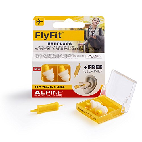 Alpine FlyFit Ear Plugs - Regulates air pressure to prevent eardrum pain - Soft filters designed for travel - Comfortable hypoallergenic material - Reusable earplugs