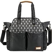 Lekebaby Diaper Bag Tote Satchel Messenger Waterproof and Anti-Scratch for Mom and Girls Black, Arrow Print