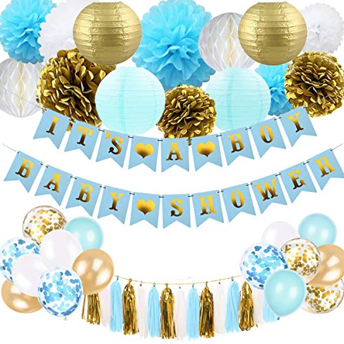 Baby Shower Decorations for Boy - Blue and Gold Baby Shower Decoration It's A Boy & Baby Shower Banner with Paper Lantern Pompoms Flowers Honeycomb Ball Balloons Tassel]()