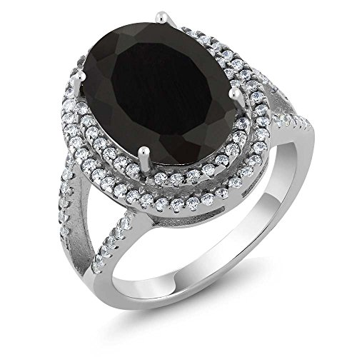 GemStoneKing 6.44 Carat 14X10MM Oval Natural Genuine Black Onyx Women's Ring Solid 925 Sterling Silver Cocktail Ring , Black and White , (SIZE ()