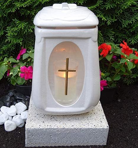 ♥ Grablampe Grablaterne mit Sockel und Grabkerze Weiß 26,0cm Grabschmuck Grableuchte Grablicht Laterne Kerze Licht Lampe Anröchter