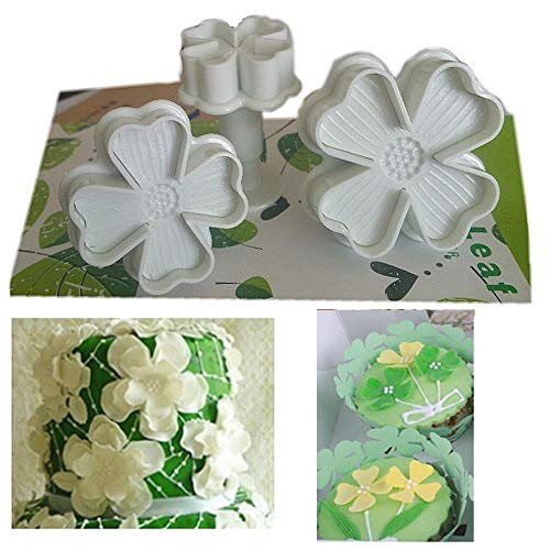 Lucky Clovers Cake Sugarcraft Plunger Fondant Cutter Decorating Mould DIY Tools - 4 Leaf Petals Heart Butterfly Embossing Tool - Set of 3