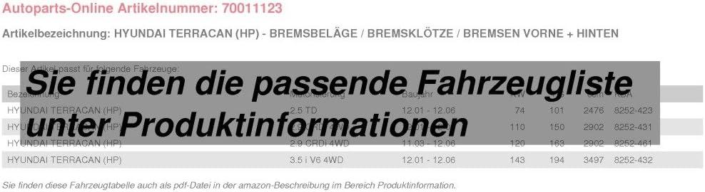 Bremsbel/äge//Bremskl/ötze//Bremsen f/ür vorne f/ür hinten
