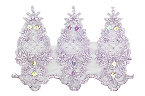 anza Bridal Beaded Sequins Embroidery Lace by Yard (Lilac) (Lilac Pearl Scallop)