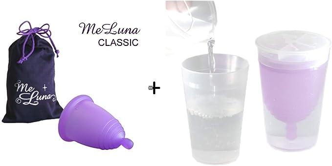 Meluna – Pack de copa Menstrual Classic bola morada talla S + esterilizador Menstrual Cup de TPE