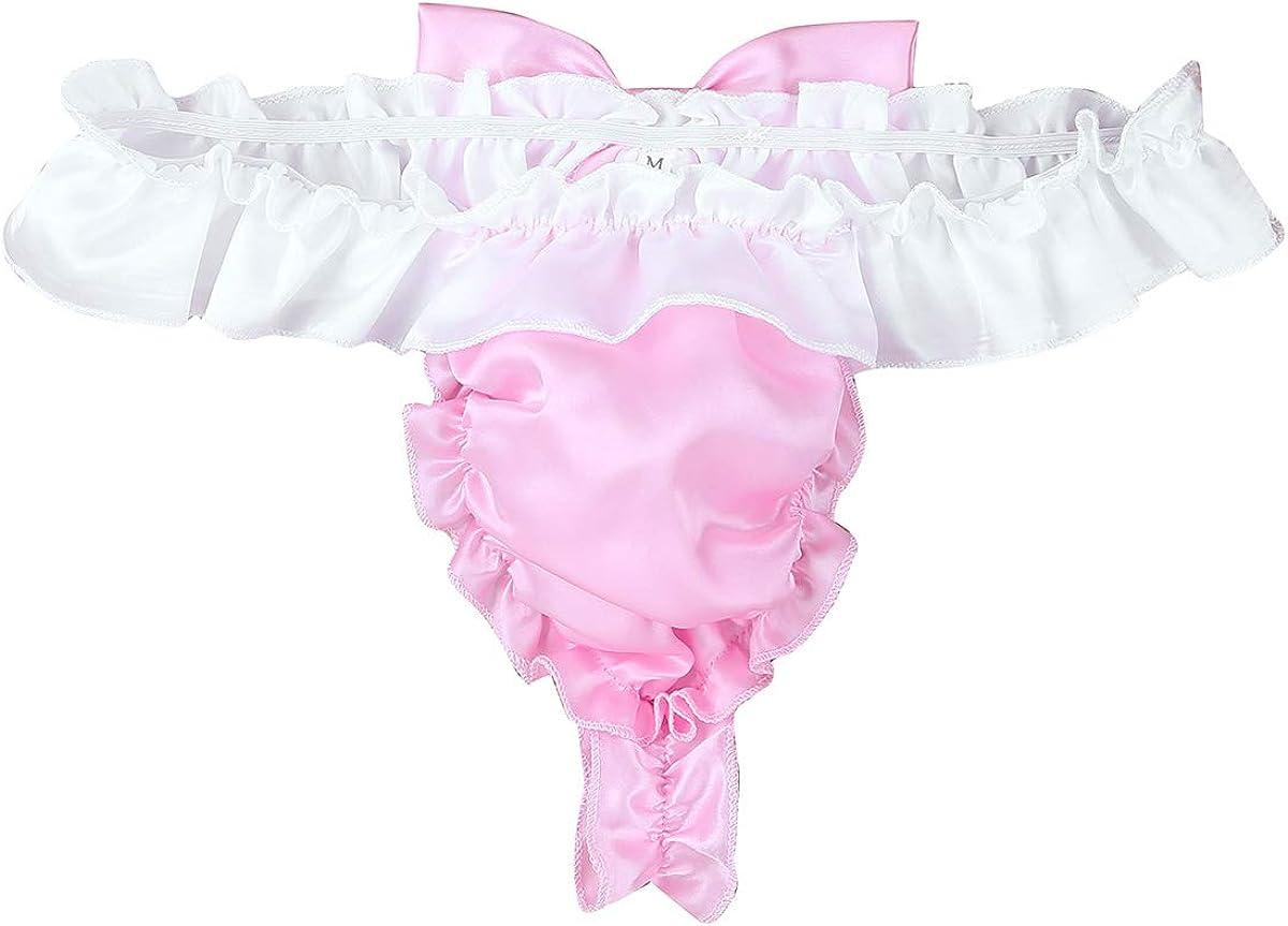 Freebily Mens Shiny Satin Ruffled Frilly Bowknot Sissy Thong Flutter Crossdress Panties