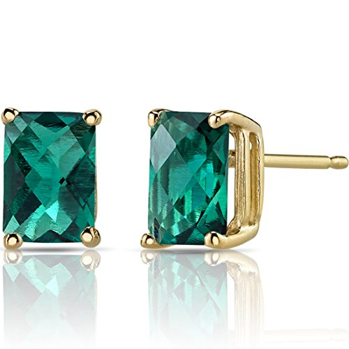 (14K Yellow Gold Radiant Cut 1.75 Carats Created Emerald Stud Earrings)
