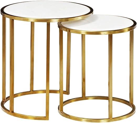 Moderna mesa auxiliar de 2 mesas nido con almacenamiento para sala ...