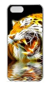 Hand Painted Tiger 3D Customized Popular DIY Hard Back Case Cover For iPhone 5 5S Hard Transparent