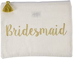"Mud Pie 8613239 ""Bridesmaid"" Gold Sequin Carry All Case"