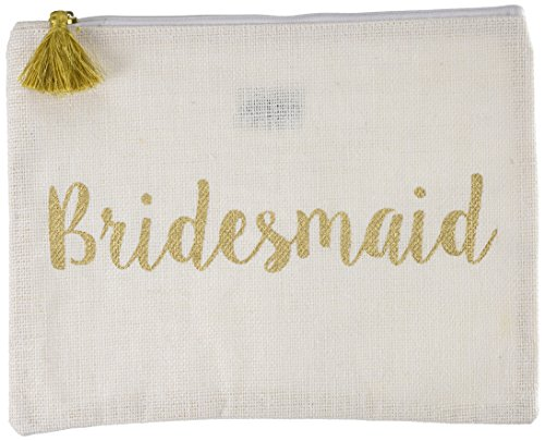Mud Pie White Bridesmaid Gold Sequin Carry All Case