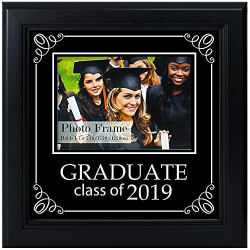Crystal Art Gallery Class of 2019 Photo Frame, College Graduation Decoration, Attached Easel, Black, 9 1/2