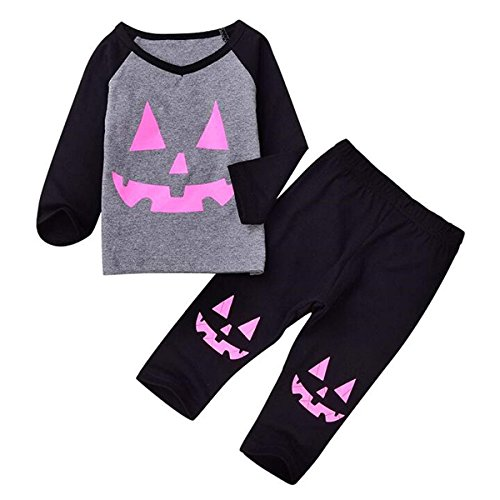 Toddler Baby Girls Halloween Clothes Set Long Sleeve Pumpkin Top with Pants Outfits (Multi, 80/9-12M) -