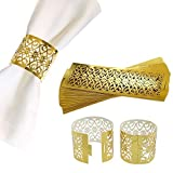 CB Accessories Premium Napkin Rings Set of 24 for Table Settings Decoration, Dinner Parties, Weddings, Special Events and Catering Services (Gold, 24 Pieces)