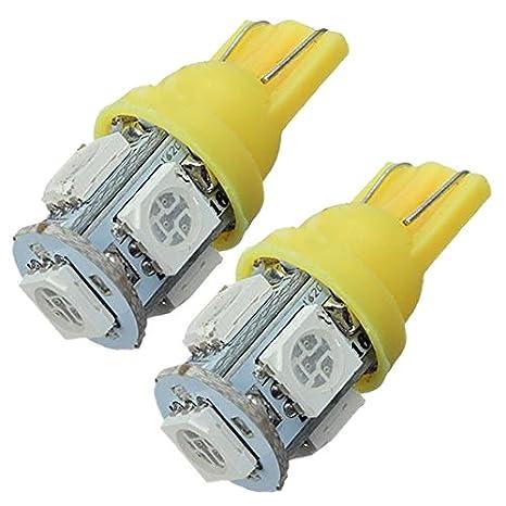 2x Blue 501 T10 5 SMD 5050 Car 5 LED Lamp Bulb Side Light Dash