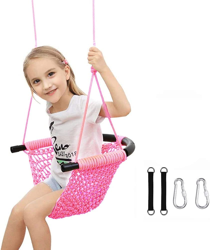 Kids Swing Seat Heavy Duty Rope Play Secure Children Swing Set for Indoor/Outdoor/Playground/Home/Tree with Snap Hooks and Swing Straps Suit for 2 to 12 Years 440 lbs Capacity (Pink)