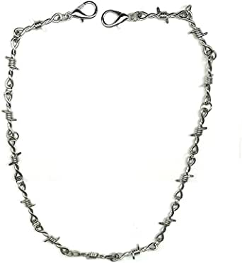 JOYID Punk Thorns Necklace Metal Chain Safety Spur Duty Padlock Necklace Hiphop Rock Jewelry for Men Boys