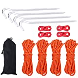 Tent Pegs Stakes Light Tent Nails Pegs with Reflective Pull Cord Rope with Cord Adjuster & Bag Wind Buckles Awning Rope Cord Kit Assessory Set for Outdoor Camping Hiking