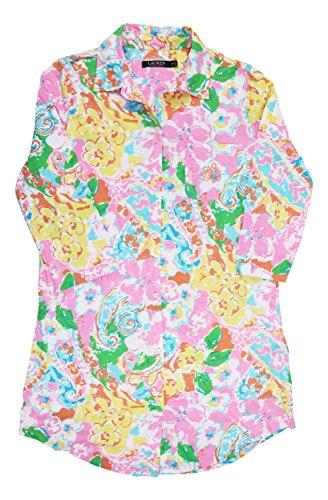 - Ralph Lauren Floral Button Down Sleepshirt Pajama Top Pink Multi S