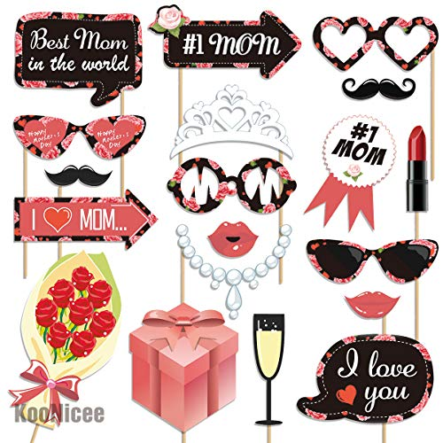 Mothers Day Decorations Photo Booth Props - Best Mom in the World for Mothers Day Party, Birthday, Funny Photography Backdrop Kits, Mothers Day Gifts, DIY Required