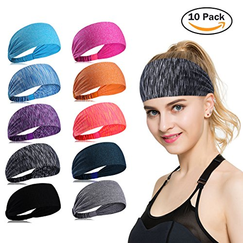 Womens Yoga Sport Athletic Headband Sweatband For Running Sports Travel Fitness Elastic Wicking Non Slip Style Bandana Basketball Headbands Headscarf fits Men (color (Athletic Bandana)