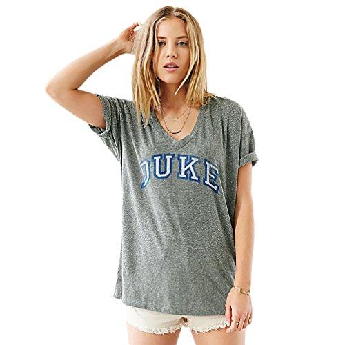 RieKet Summer Women Casual Short-sleeved Gray V-neck Tee Shirts 'DUKE' Letters Printed (XL,Grey)