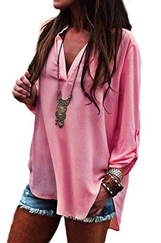 Occasionnelles Lache XXL Bureau Shirt Haut Plaine T Manches Les Pink Haut en Longues Col Mupoduvos V 7XzITxqB