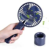 Lantoo Mini Handheld Fan, Battery Operated Personal Portable Fan Rechargeable Desk Fan W/Removeable Base, 2000Ah Battery for Office Home Household Travel Outdoor Camping