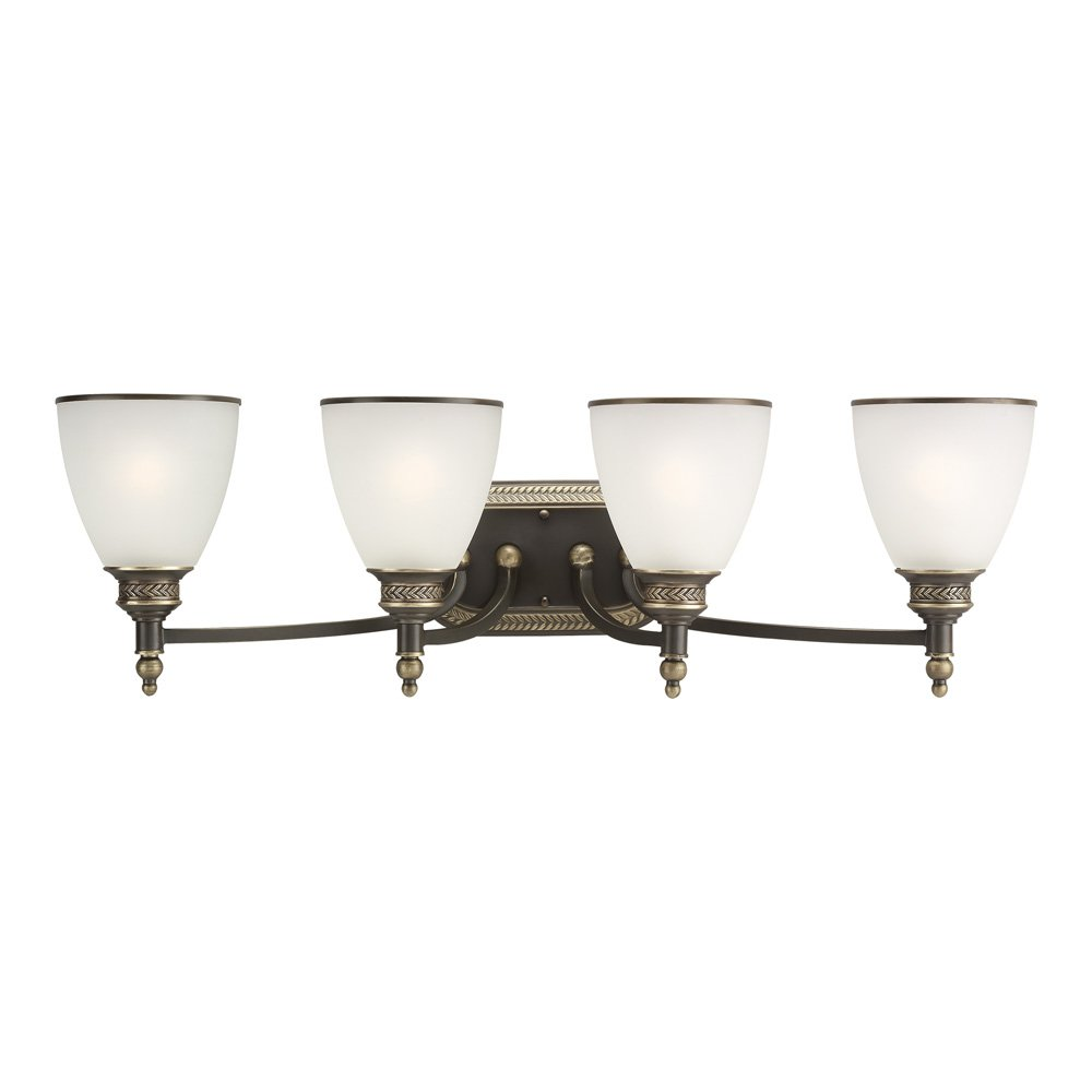 Sea Gull Lighting 44352-708 Laurel Leaf Four-Light Bath or Wall Light Fixture with Etched Ripple Glass Shades, Estate Bronze Finish by Sea Gull Lighting