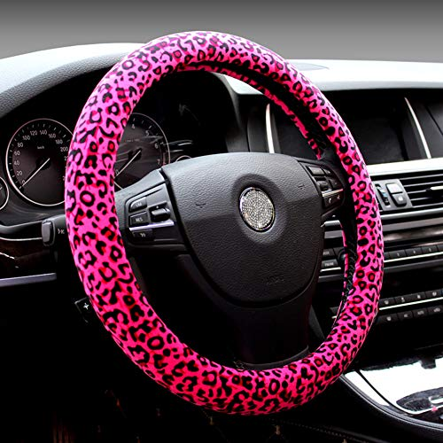 Fuzzy Hot Pink Leopard Car Steering Wheel Cover Winter Anti-Slip For Ladies (Pink Leopard Cover Steering Wheel)
