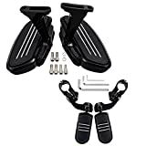 BLACK Passenger Floorboards + 32mm Engine Guard Highway Footpegs for 93-18 Harley Touring