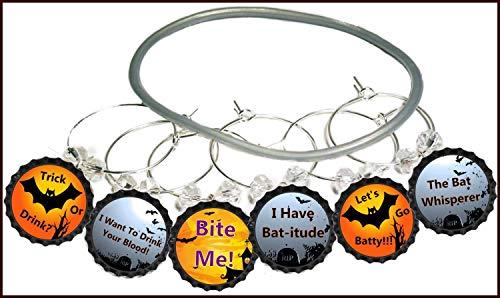 Halloween Wine Glass Charms - Bat Theme Glass Identifier Tags - Halloween Glass Markers - 8 Wine Charms/pack]()