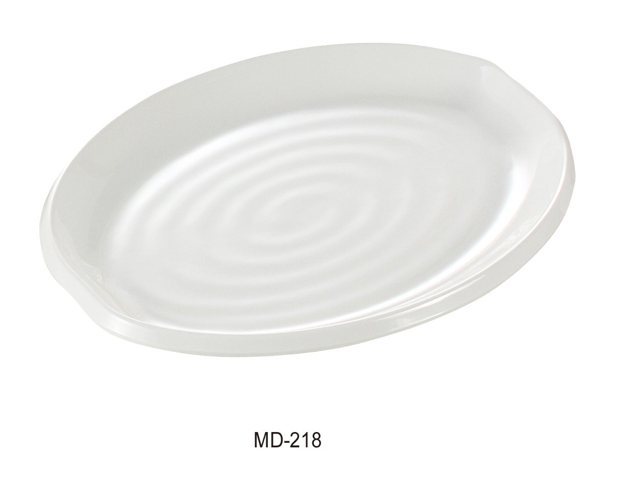 Yanco Milando Collection Elegant Melamine BOW Oval Plate 18'' BOX of 12