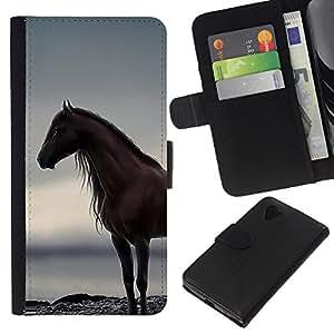 KingStore / Leather Etui en cuir / LG Nexus 5 D820 D821 / Ocean étalon gris Été