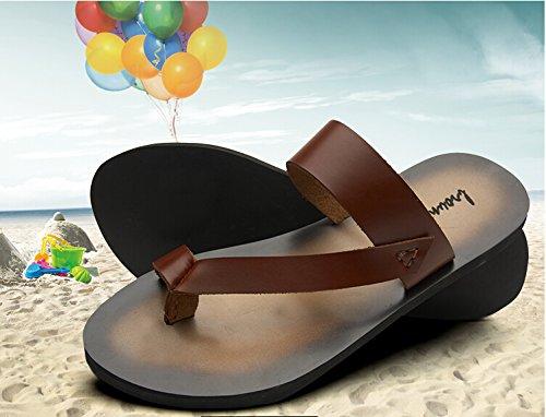 Happyshop (tm) Heren Koe Lederen Outdoor Teenslippers Strand Slippers Casual Slipper Schoenen Sandalen Bruin