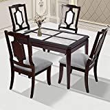PrimaSleep Luxury Natural Marble Top Dining Table / 4 Piece Marble Top - 44 Inch / Light Brown