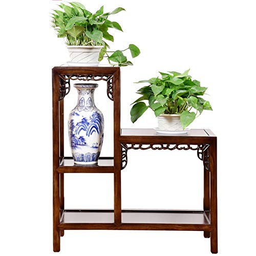 Flower Pot Stand Plant Stand Flower Rack Stand Flower Pot Display Stand-Solid Wood 2 Joint Multi-Layer Balcony Flower Stand Antique LEBAO (Color : Walnut Color, Size : 703080cm)