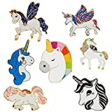 SAKOLLA Rainbow Unicorn Button Pins, 7 Designs Brooch Pin for Kids Birthday Party Favors, Unicorn Lovers