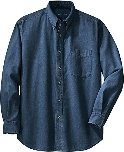 Joe's USA 6.5-Ounce Long Sleeve Denim Shirts in Sizes XS-6XL Dark ()