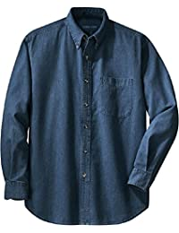 Men's Long Sleeve Denim Shirts in Sizes XS-6XL