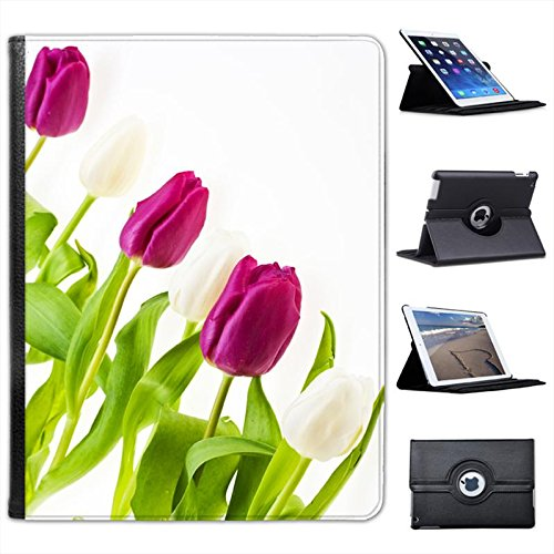 Pink & White Tulips All In A Row For Apple iPad 2, 3 & 4 Faux Leather Folio Presenter Case Cover Bag with Stand Capability