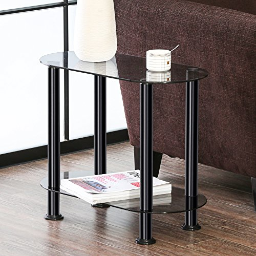 FITUEYES Grey Glass End Table Accent Side Table Coffee Table ET206001GT