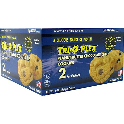 Chef Jay's Tri-O-Plex Cookies - Peanut Butter Chocolate Chip - Box of 12 Packages - 2 Cookies Each (3oz -85g per package)