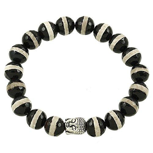 Falari Buddha Energy Natural Gemstone Bracelet Zebra Marble (Turquoise Gum Gems compare prices)