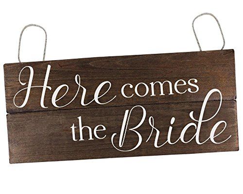 Rustic Here Comes the Bride Sign Ring Bearer Sign Wedding Sign Here Comes the Bride Wood Sign Flower Girl Sign ()