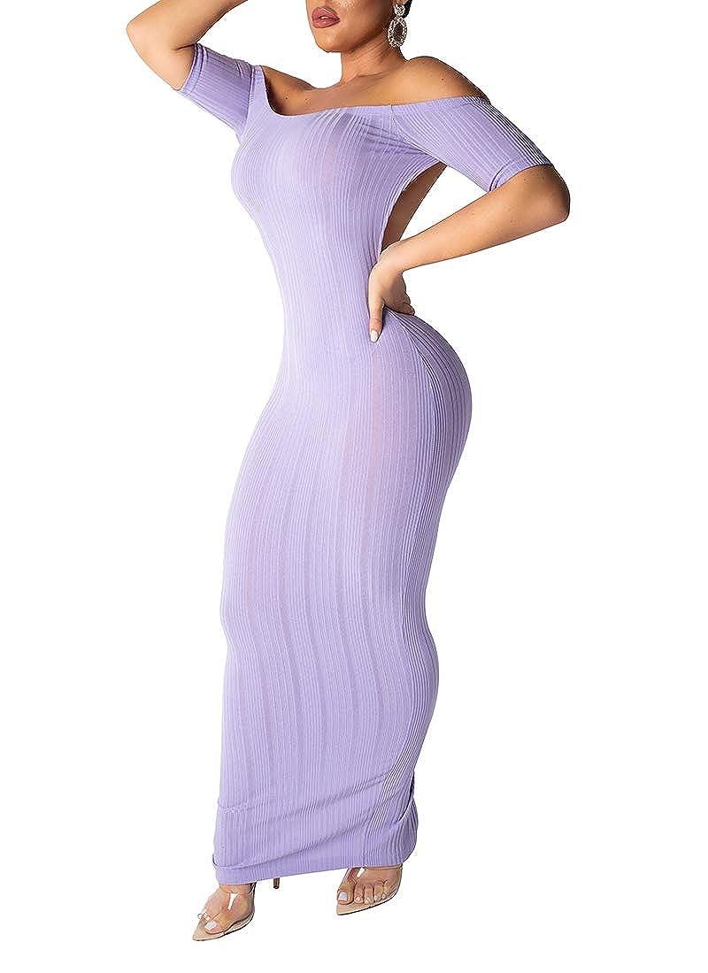 Purple ECHOINE Women Sexy Bodycon Mdi Dress Short Sleeve Backless Off Shoulder Striped Knit Wrap Pencil Maxi Dresses