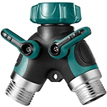 Elekin Y-Shaped Garden Hose Splitter, 2 Ways Hose Connector 3/4'' Zinc Alloy body, Fit with Outdoor Faucet, Comfortable Rubberized Grip (Invisible Green)